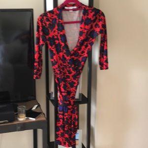 Red floral DVF Julian wrap dress size 2